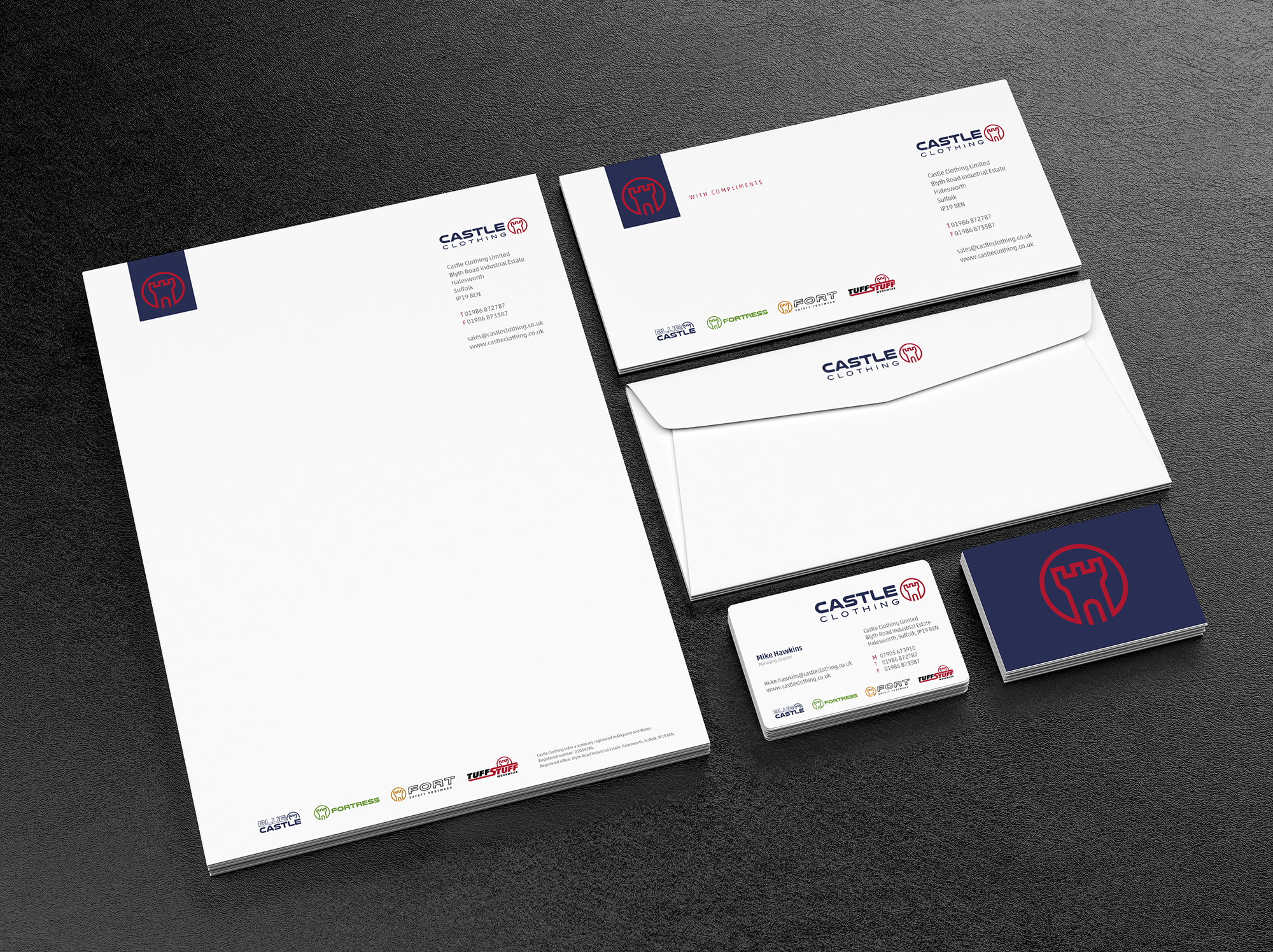 Blank corporate identity template on black leather background